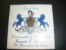 vintage tile Coat of Arms Commonwealth of PA Kenneth Brandt 98th district repres
