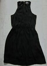 NEW LOOK Cut Away Shoulder COCKTAIL Mini Dress BLACK 14 Short Chiffon Zip Back