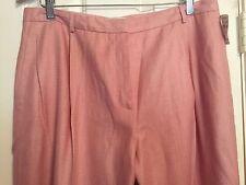 NWT NEIMAN MARCUS Exclusive pink LINEN dress pants slacks trousers $148 sz 18