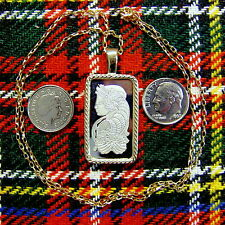 9ct gold New bullion bar lady luck pendant  & chain with 10g fine silver ingot