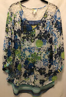 LKnew! 1X Fig and Flower Anthropologie Chiffon Boho Floral Tunic Peasant Top