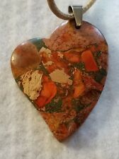 orange sea sediment jasper bead pendant tan leather cord FREE SHIPPING