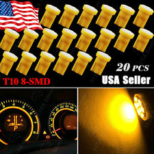 20X Amber Yellow T10 8-SMD LED Dashboard Instrument Light W5W 158 192 194 168
