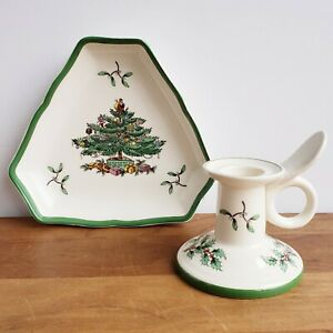 Spode Christmas Tree candy or nut dish and candlestick holiday china England