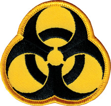 43014 Biohazard Symbol Black & Yellow Danger Chemical Embroidered Iron On Patch