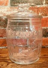 "Planters ""Running"" Mr. Peanut Clear Counter Container Glass Barrel Jar"