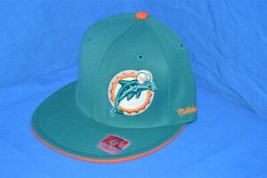 NEW MIAMI DOLPHINS NFL SIDE LOGO ORANGE TEAL MITCHELL & NESS HAT 6 3/4