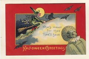 early VINTAGE  WITCH - BLACK CAT-BATS- -HALLOWEEN POSTCARD  signed E. C. BANKS