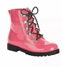 Wonder Nation Girls Pink Glossy Moto Boots 12, 4, 6,