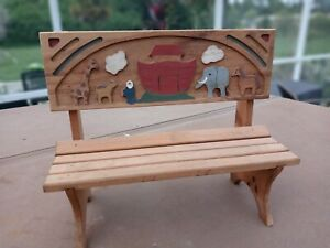 NOAH'S ARK Mini Bench Hand Painted Great Shape 1970's Vintage Pre-Owned