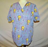 Looney Tunes Baby Tweety Women's Scrub Top Size Large Blue Denim Short Sleeve