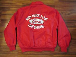 Vintage Red Ford Ohio Truck Plant Fire Brigade Jacket - Men's XL - Gem