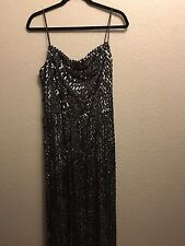 TRUE VINTAGE BLACK AND SILVER SEQUIN FULL LENGTH EVENING GOWN OLD HOLLYWOOD