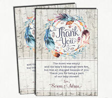 Boho Baby Shower Thank You Card Bohemian Feathers Rustic Party Supplies Favours