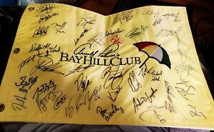 ARNOLD PALMER BAY HILL CLUB FLAG SIGNED BY 40 PLUS GOLFERS FINAU, FOWLER, LOWRY