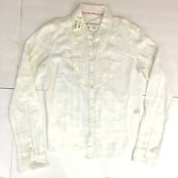 NWT Aeropostale Womens L Solid White Shirt Long Sleeve Pleated Pintuck Cotton
