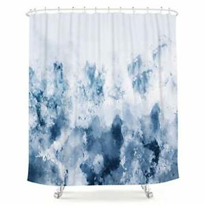 Abstract Watercolor Blue Shower Curtain Silver Gray Cold White Modern Art Paint
