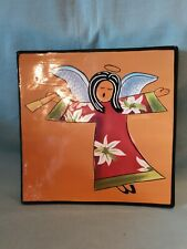 Naylor Designs Handpainted Angel & Horn Ceramic Square Plate Rare GC