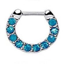 "Septum Nose Clicker Covered in Opalite Blue/Green Gems 16 Gauge 5/16"" Steel Body"