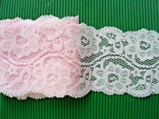 "2Y~3.5""~ Elastic Lace Trimming Flower Wave Rim Embroidered Headbands Pink"