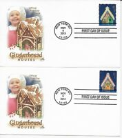 US Scott #4817-20, First Day Covers 11/6/13 New York Single Gingerbread Houses