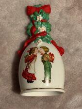 Avon Christmas bell holiday white children 1989 mistletoe kiss presents