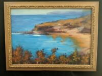 FRAMED Oil Painting Seascape Ocean Water Inlet Scenery Outdoors