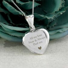 Personalised Sterling Silver Heart Photo Locket Engraved Necklace Mum Birthday