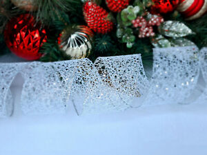 CHRISTMAS WIRED EDGE RIBBON 2.5 IN WIDE SILVER GLITTER WRAP GIFT WRAPPING BULK