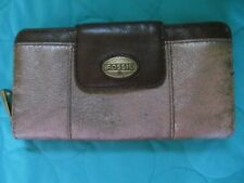 FOSSIL LEATHER ORGANIZER WALLET**BROWN AND GOLD METALLIC**EUC *