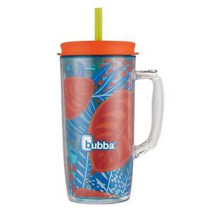 "Bubba Envy Dual Wall Insulated Travel Mug w/Straw ""Tropical Palm Feather"" 48 oz."