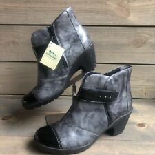 Spring Step Womens Booties Gray Black Zip Cuban Heels Shoes 8 EU 39 New