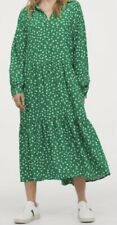 H&M Green Floral Maxi Flounce Tiered Dress Size XS Sold Out