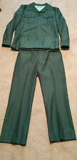 Vtg 60/70s Green 2 Piece Polyester Leisure Suit Mens Large Jacket Pants Stamps