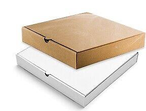 100 x White Brown Plain Pizza Boxes Pizza Box Takeaway Strong Postal 7 - 12 Inch