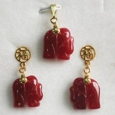Charming! Natural 14KGP Red Jade Elephant Pendant Necklace Earring Set