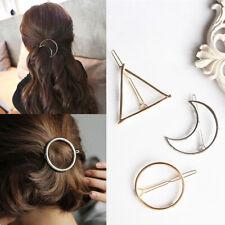 AU_ Fashion Women Hair Clip Alloy Hollow Moon Circle Triangle Bangs Hairpin Barr
