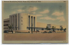 NATIONAL BROADCASTING STATION~HOLLYWOOD,CA~NBC LINEN POSTCARD