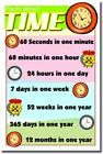 Facts About Time - New Elementary School Classroom Educational Math POSTER