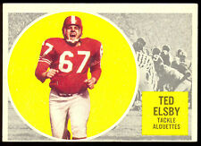 1960 TOPPS CFL FOOTBALL 41 TED ELSBY EX-NM MONTREAL ALOUETTES BRANTFORD JR