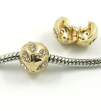 Fashion 1pcs Gold European Charm Crystal Spacer Bead Fit Necklace Bracelet DIY -