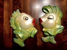 Vintage Miller Studio Chalkware Fish Wall Plaque 1967 Kissing Fish