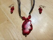 Earthy Red Leather-Look Necklace & Earrings Set by AVON
