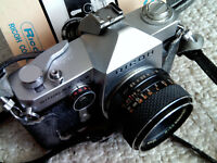 Authentic VINTAGE RICOH SINGLEX TLS 35MM FILM CAMERA WITH original manual LOOK!!