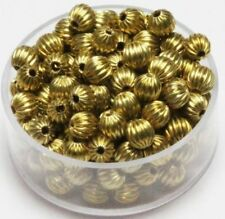 Brass 5 mm Round Corrugated Beads Pkg. Of 100 ( Raw Brass hollow Beads )