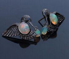 Gemstone Fiery Opal BIRD Earrings Sterling Silver Pave Diamond Handmade Jewelry