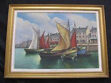 """Belle marine Bretonne 1950  """" les sardiniers  dans le port """""""