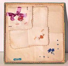 Vtg. Embroidered Floral Irish Linen Hankies Handkerchiefs (3) in Box 1950's Nos