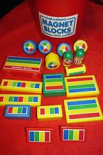 VINTAGE LOT OF 18 PLASTIC RAINBOW MAGNET BLOCK TOY BUILDING BLOCKS Lakeshore
