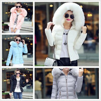 Women Winter Down Cotton Warm Jacket Short Fur Collar Hooded Coat Parka 6 8 10